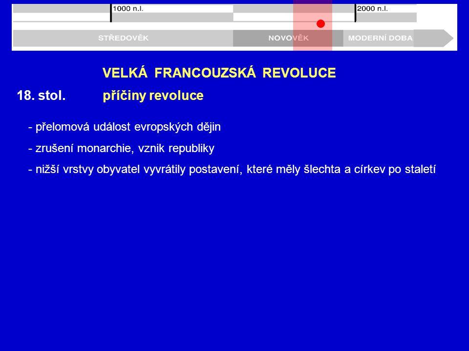 18. stol. VELKÁ FRANCOUZSKÁ REVOLUCE příčiny revoluce - přelomová událost evropských dějin - zrušení monarchie, vznik republiky - nižší vrstvy obyvate