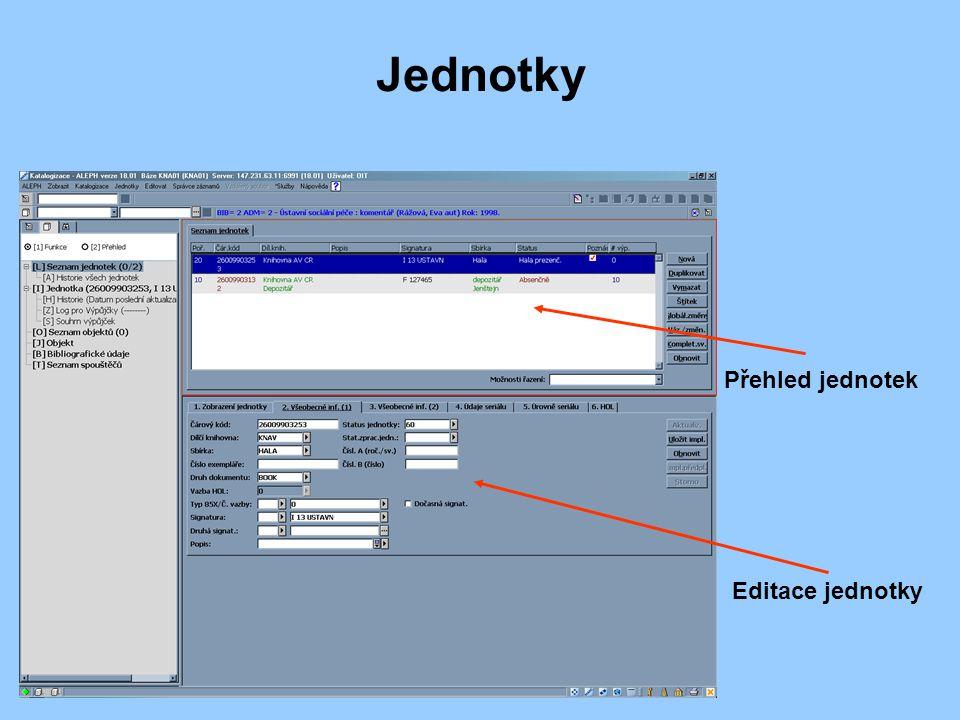 Jednotky Přehled jednotek Editace jednotky