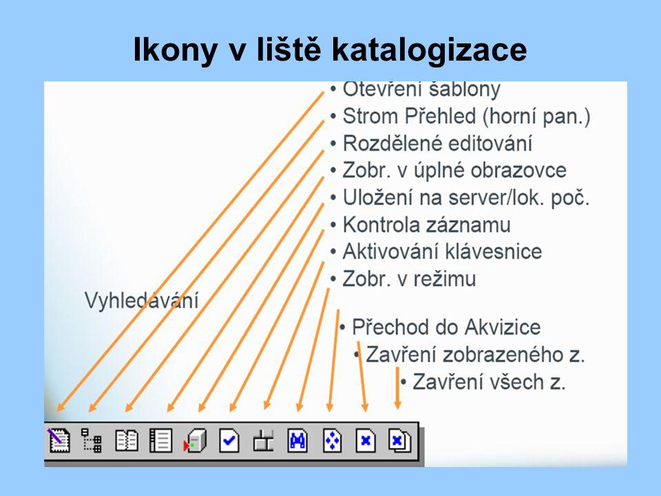 Ikony v liště katalogizace