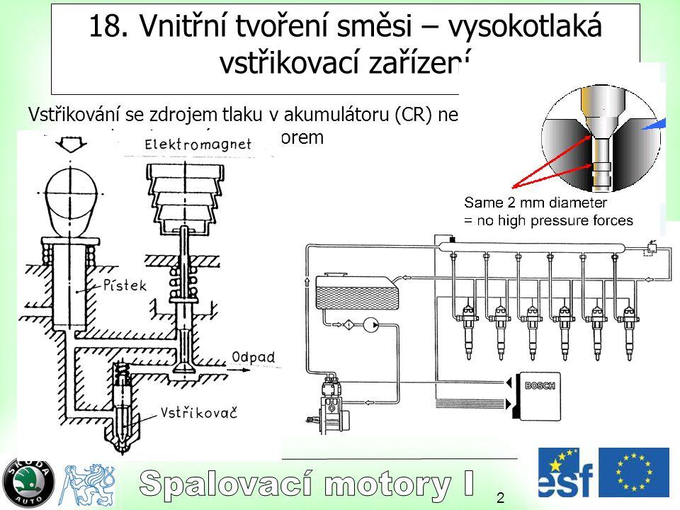 2 18. Vnitřní tvoření směsi – vysokotlaká vstřikovací zařízení Vstřikování se zdrojem tlaku v akumulátoru (CR) nebo zdrojem synchronizovaným s motorem