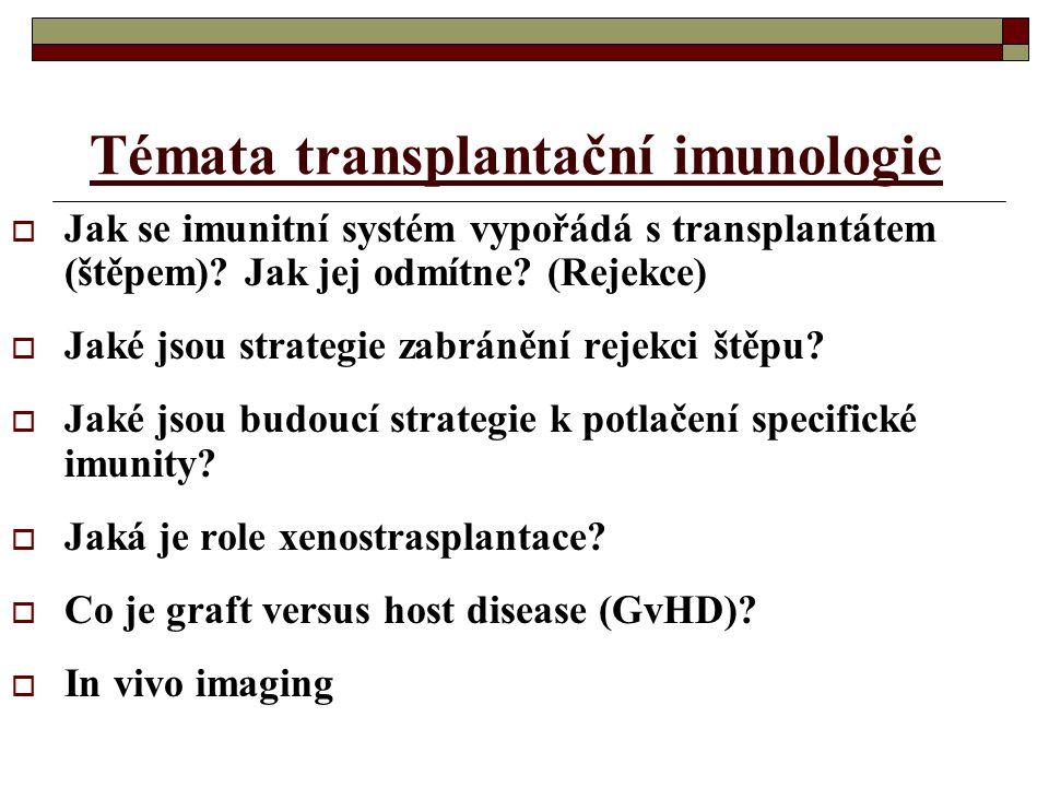 Témata transplantační imunologie  Jak se imunitní systém vypořádá s transplantátem (štěpem)? Jak jej odmítne? (Rejekce)  Jaké jsou strategie zabráně