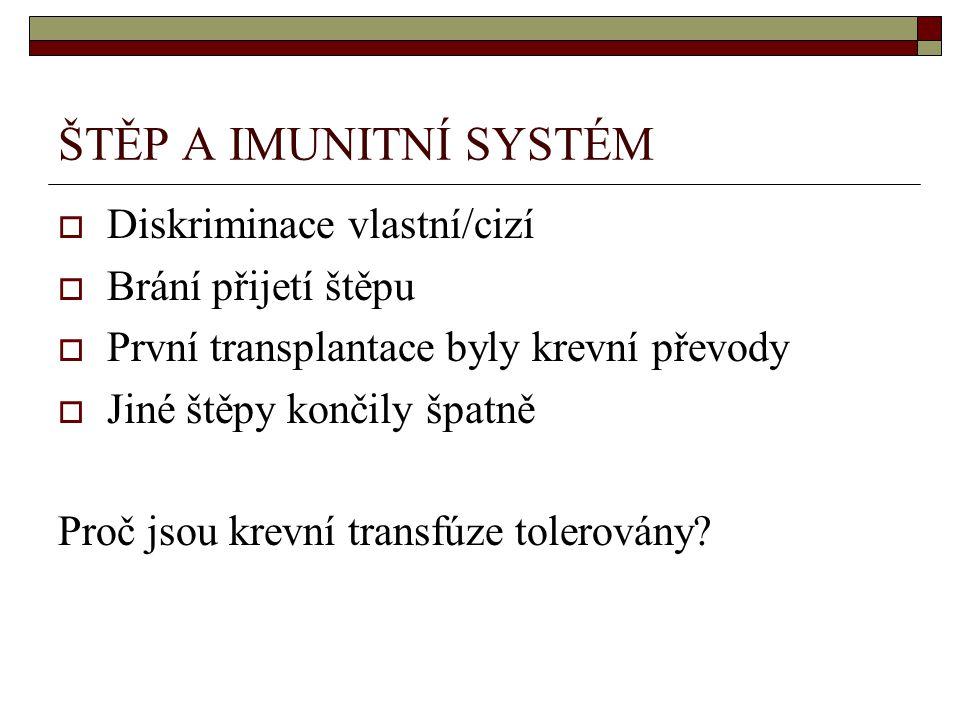 ŠTĚP A IMUNITNÍ SYSTÉM  Diskriminace vlastní/cizí  Brání přijetí štěpu  První transplantace byly krevní převody  Jiné štěpy končily špatně Proč jsou krevní transfúze tolerovány?