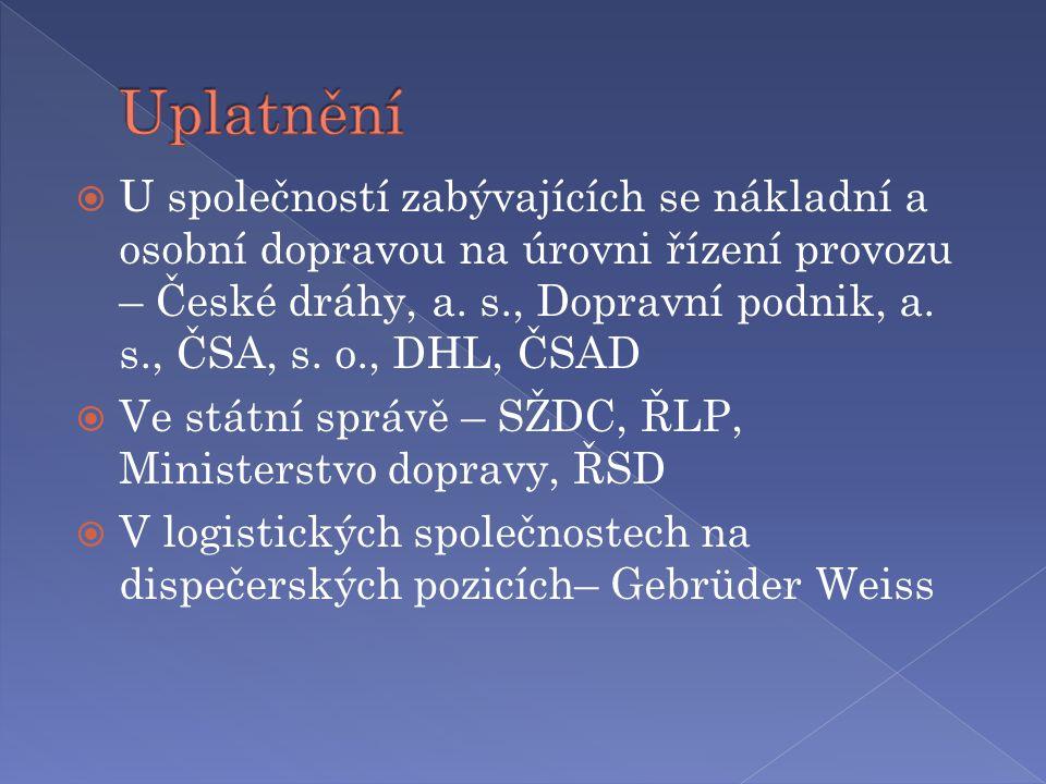  U společností zabývajících se nákladní a osobní dopravou na úrovni řízení provozu – České dráhy, a.