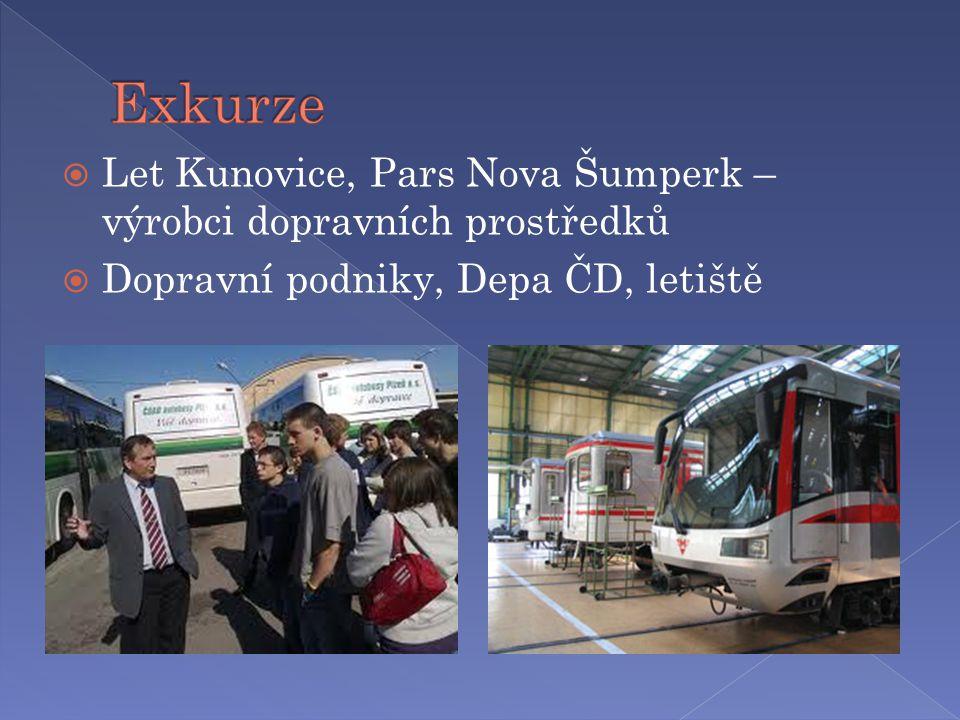  Let Kunovice, Pars Nova Šumperk – výrobci dopravních prostředků  Dopravní podniky, Depa ČD, letiště