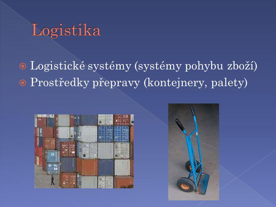  Logistické systémy (systémy pohybu zboží)  Prostředky přepravy (kontejnery, palety)