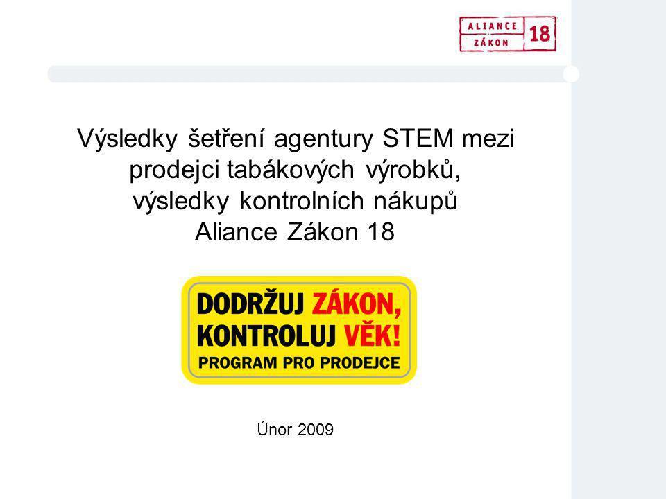 Výsledky šetření agentury STEM mezi prodejci tabákových výrobků, výsledky kontrolních nákupů Aliance Zákon 18 Únor 2009