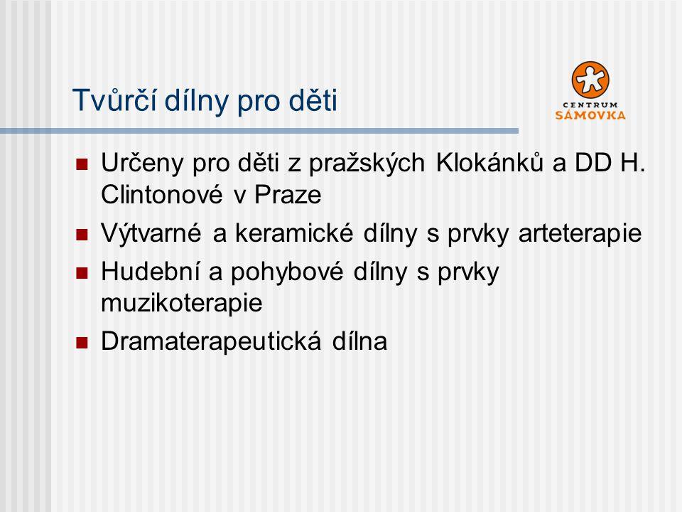Určeny pro děti z pražských Klokánků a DD H. Clintonové v Praze Výtvarné a keramické dílny s prvky arteterapie Hudební a pohybové dílny s prvky muziko