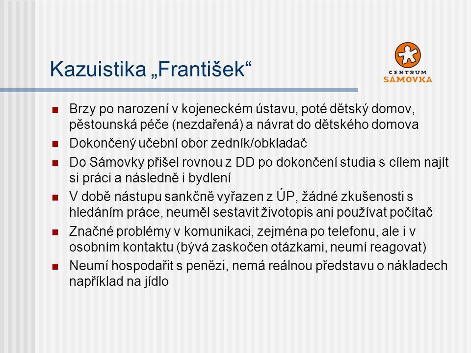 """Kazuistika """"František"""" Brzy po narození v kojeneckém ústavu, poté dětský domov, pěstounská péče (nezdařená) a návrat do dětského domova Dokončený učeb"""