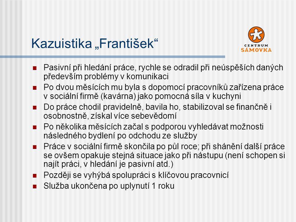 """Kazuistika """"František"""" Pasivní při hledání práce, rychle se odradil při neúspěších daných především problémy v komunikaci Po dvou měsících mu byla s d"""
