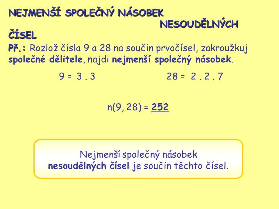 NEJMENŠÍ SPOLEČNÝ NÁSOBEK NESOUDĚLNÝCH ČÍSEL Př.: Rozlož čísla 9 a 28 na součin prvočísel, zakroužkuj společné dělitele, najdi nejmenší společný násob