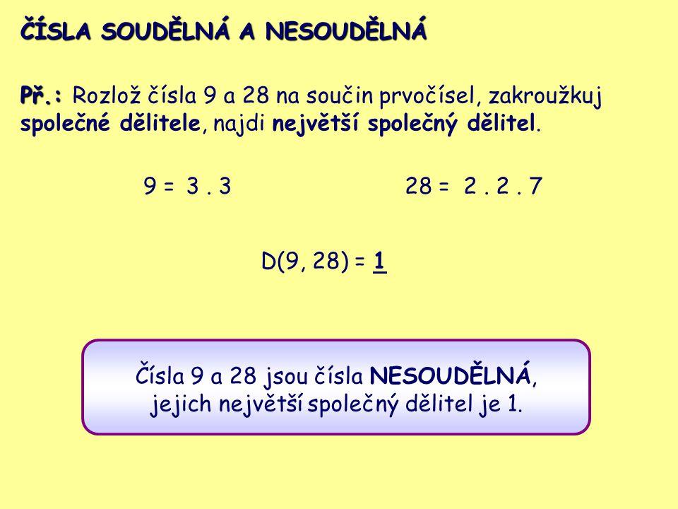 ČÍSLA SOUDĚLNÁ A NESOUDĚLNÁ Př.: Rozlož čísla 9 a 28 na součin prvočísel, zakroužkuj společné dělitele, najdi největší společný dělitel. 9 =3. 328 =2.