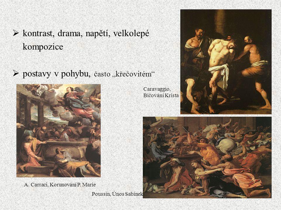 Caravaggio, Bičování Krista A. Carraci, Korunování P. Marie Poussin, Únos Sabinek  kontrast, drama, napětí, velkolepé kompozice  postavy v pohybu, č