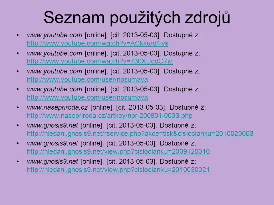 Seznam použitých zdrojů www.youtube.com [online]. [cit.