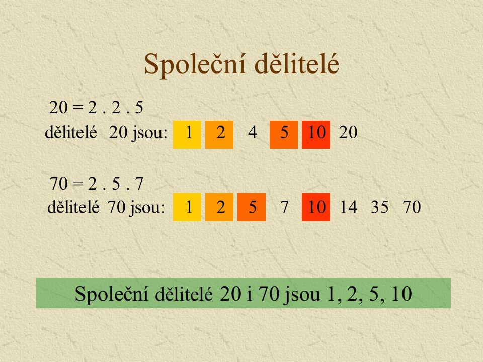 Společní dělitelé Společní dělitelé 20 i 70 jsou 1, 2, 5, 10 10520421dělitelé 20 jsou: 70 = 2.