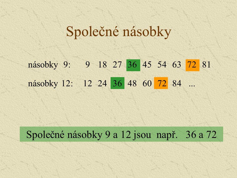 Společné násobky Společné násobky 9 a 12 jsou např.