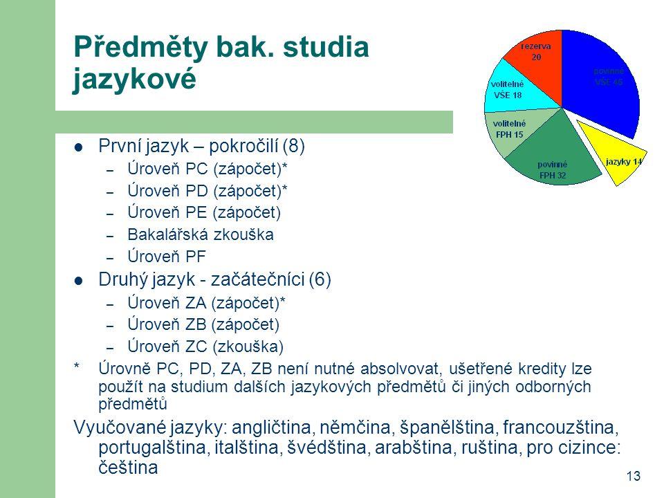 13 Předměty bak. studia jazykové První jazyk – pokročilí (8) – Úroveň PC (zápočet)* – Úroveň PD (zápočet)* – Úroveň PE (zápočet) – Bakalářská zkouška
