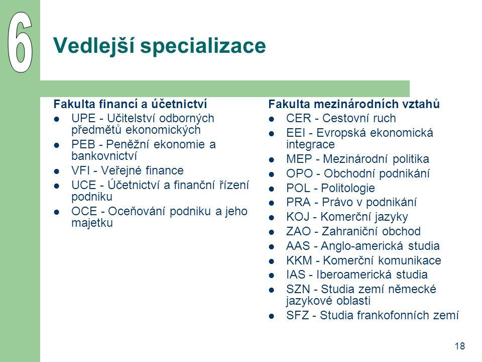 18 Vedlejší specializace Fakulta financí a účetnictví UPE - Učitelství odborných předmětů ekonomických PEB - Peněžní ekonomie a bankovnictví VFI - Veř
