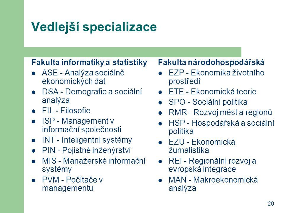 20 Vedlejší specializace Fakulta informatiky a statistiky ASE - Analýza sociálně ekonomických dat DSA - Demografie a sociální analýza FIL - Filosofie