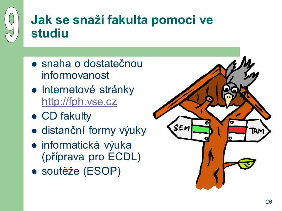 26 Jak se snaží fakulta pomoci ve studiu snaha o dostatečnou informovanost Internetové stránky http://fph.vse.cz http://fph.vse.cz CD fakulty distančn