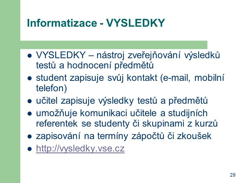 29 Informatizace - VYSLEDKY VYSLEDKY – nástroj zveřejňování výsledků testů a hodnocení předmětů student zapisuje svůj kontakt (e-mail, mobilní telefon