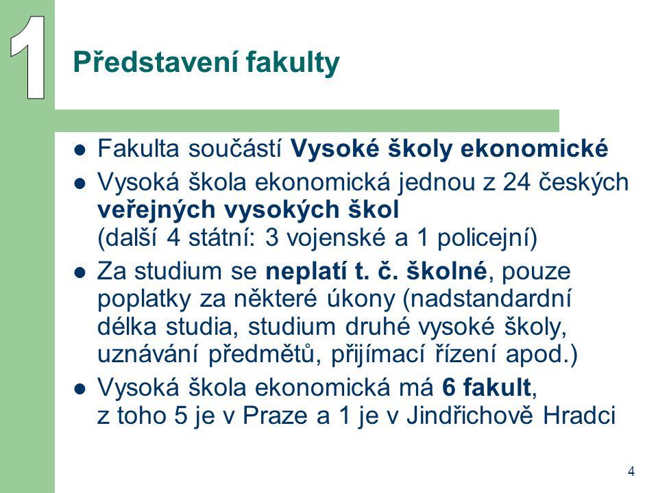 4 Představení fakulty Fakulta součástí Vysoké školy ekonomické Vysoká škola ekonomická jednou z 24 českých veřejných vysokých škol (další 4 státní: 3