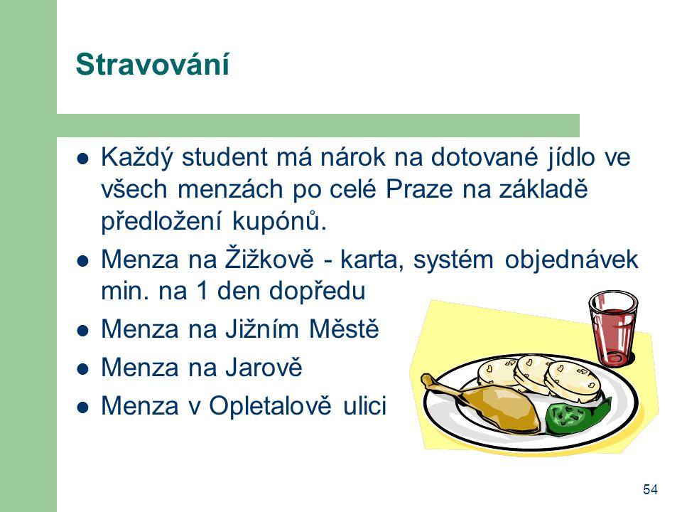 54 Stravování Každý student má nárok na dotované jídlo ve všech menzách po celé Praze na základě předložení kupónů. Menza na Žižkově - karta, systém o