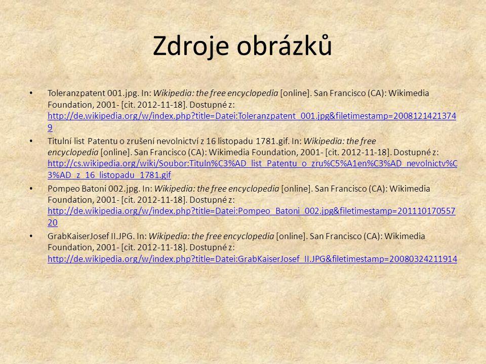 Zdroje obrázků Toleranzpatent 001.jpg. In: Wikipedia: the free encyclopedia [online].