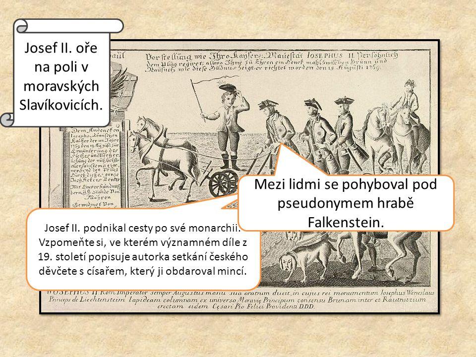 Josef II. oře na poli v moravských Slavíkovicích.