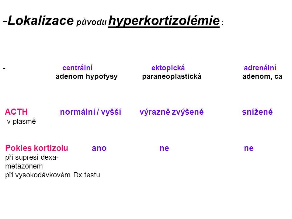 -Lokalizace původu hyperkortizolémie : - centrální ektopická adrenální adenom hypofysy paraneoplastická adenom, ca ACTH normální / vyšší výrazně zvýšené snížené v plasmě Pokles kortizolu ano ne ne při supresi dexa- metazonem při vysokodávkovém Dx testu