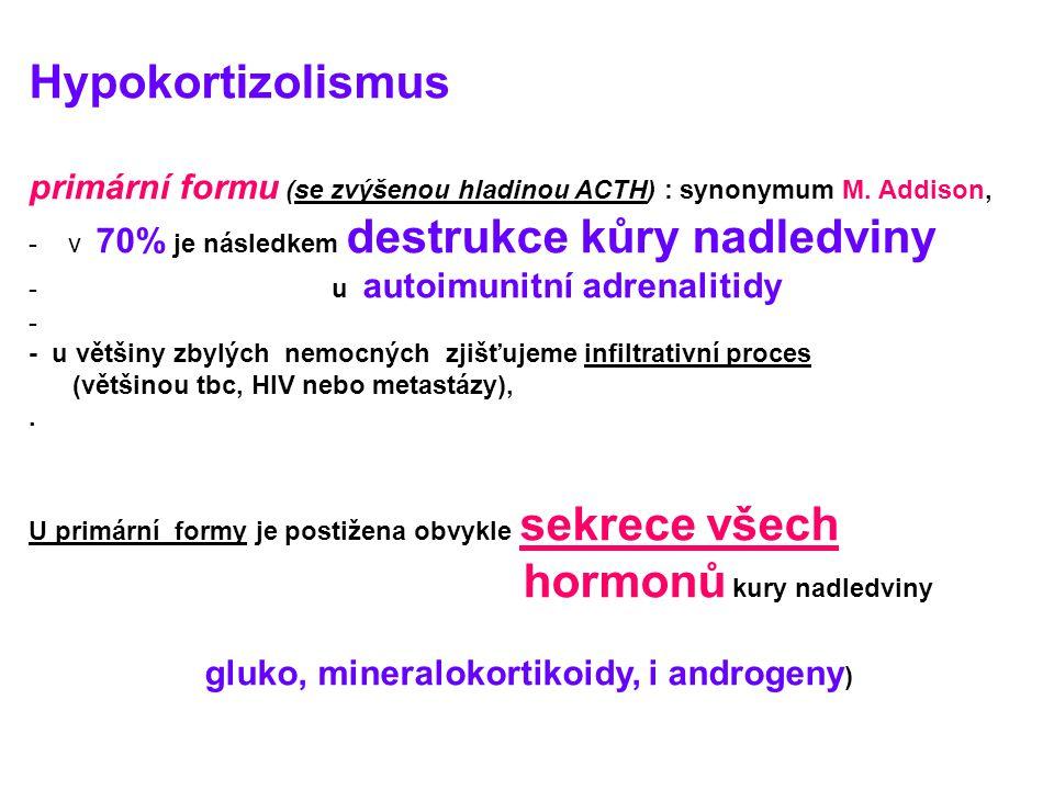 Hypokortizolismus primární formu (se zvýšenou hladinou ACTH) : synonymum M.