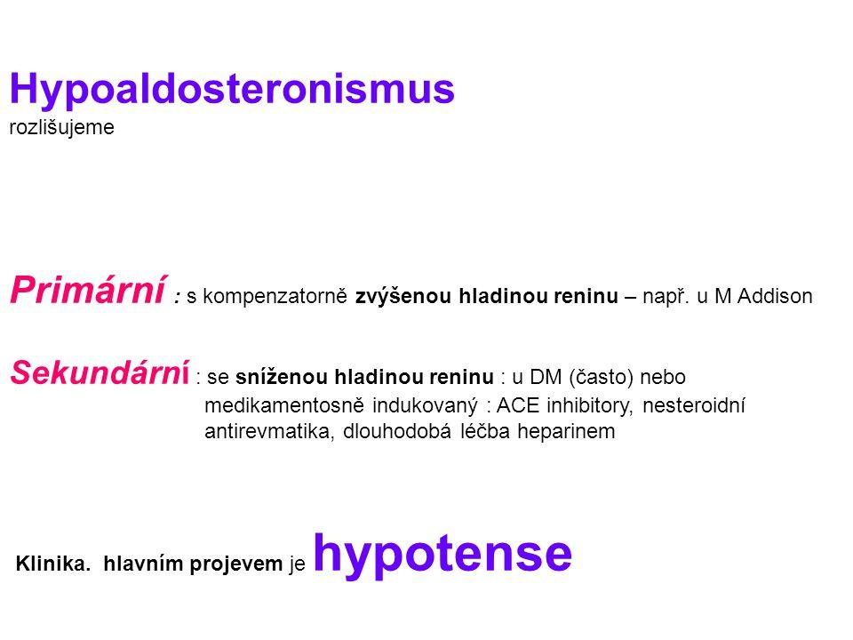 Hypoaldosteronismus rozlišujeme Primární : s kompenzatorně zvýšenou hladinou reninu – např.