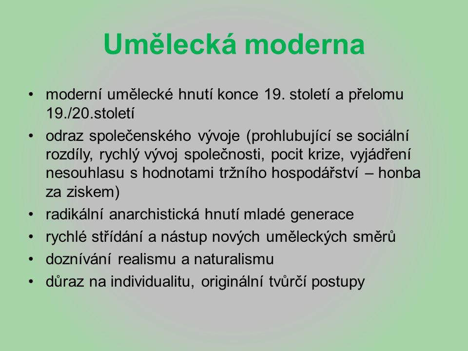 Umělecká moderna moderní umělecké hnutí konce 19. století a přelomu 19./20.století odraz společenského vývoje (prohlubující se sociální rozdíly, rychl