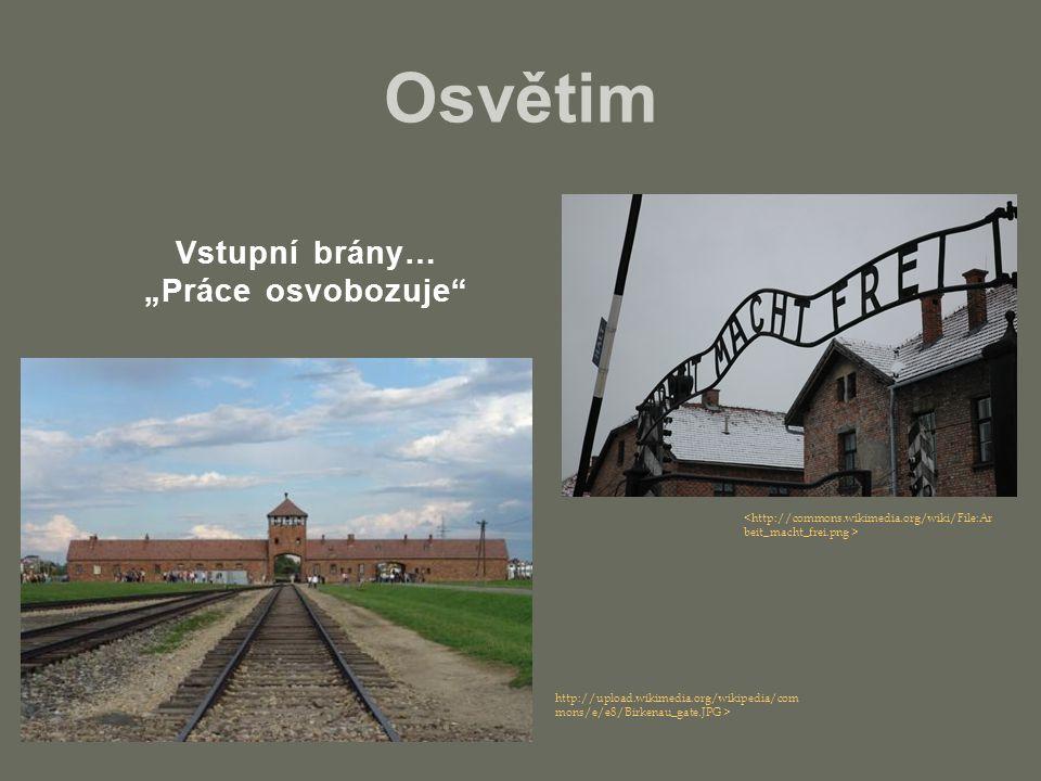 """Osvětim http://upload.wikimedia.org/wikipedia/com mons/e/e8/Birkenau_gate.JPG > Vstupní brány… """"Práce osvobozuje"""""""
