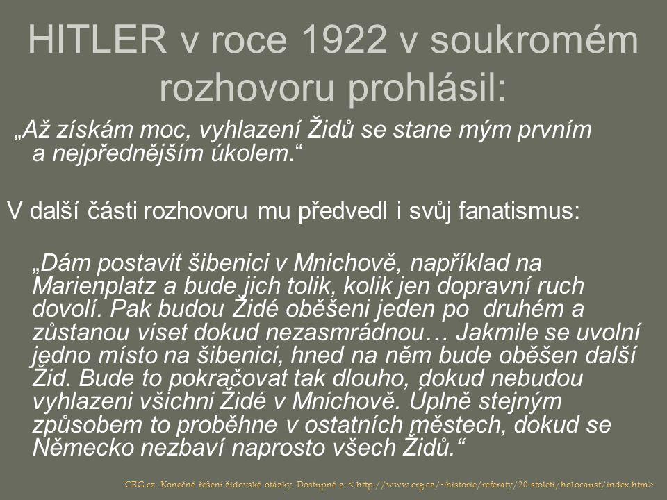 """HITLER v roce 1922 v soukromém rozhovoru prohlásil: """"Až získám moc, vyhlazení Židů se stane mým prvním a nejpřednějším úkolem."""" V další části rozhovor"""
