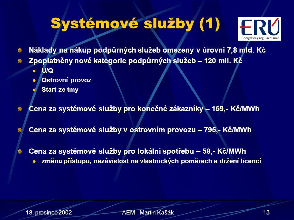 18. prosince 2002AEM - Martin Kašák13 Systémové služby (1) Náklady na nákup podpůrných služeb omezeny v úrovni 7,8 mld. Kč Zpoplatněny nové kategorie