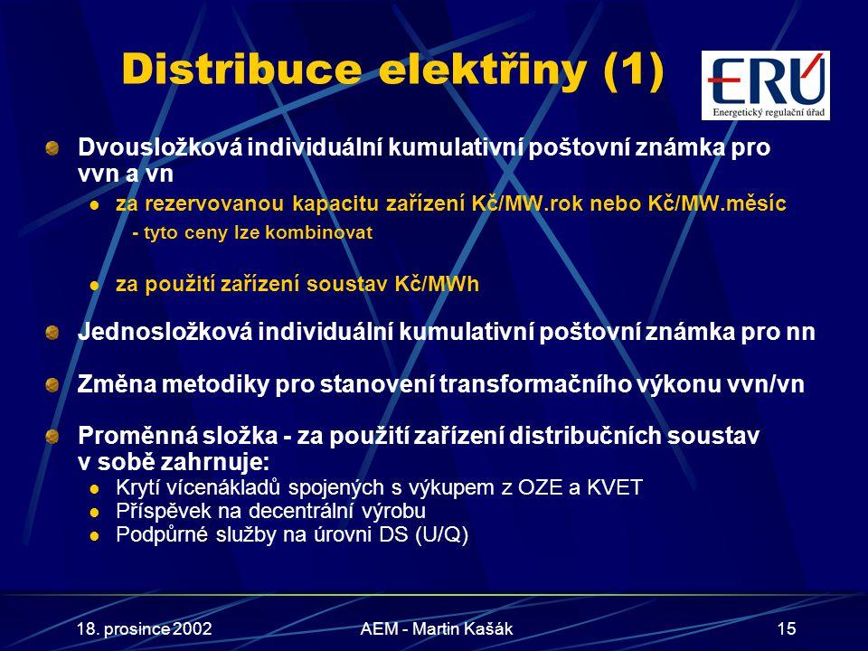18. prosince 2002AEM - Martin Kašák15 Distribuce elektřiny (1) Dvousložková individuální kumulativní poštovní známka pro vvn a vn za rezervovanou kapa