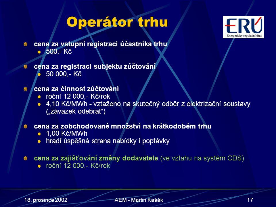 18. prosince 2002AEM - Martin Kašák17 Operátor trhu cena za vstupní registraci účastníka trhu 500,- Kč cena za registraci subjektu zúčtování 50 000,-