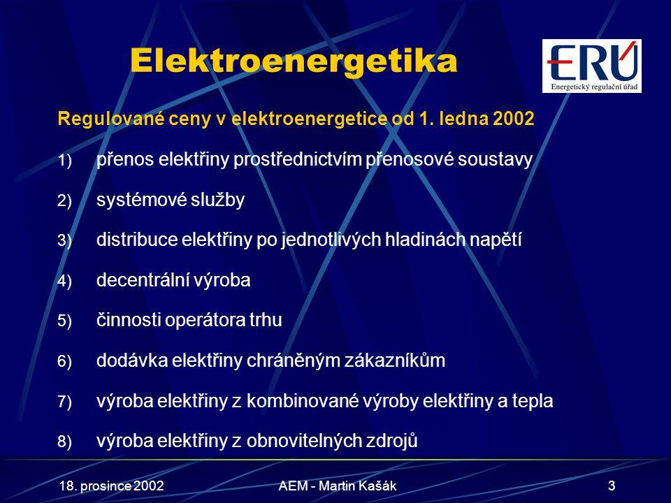 18. prosince 2002AEM - Martin Kašák3 Elektroenergetika Regulované ceny v elektroenergetice od 1. ledna 2002 1) přenos elektřiny prostřednictvím přenos