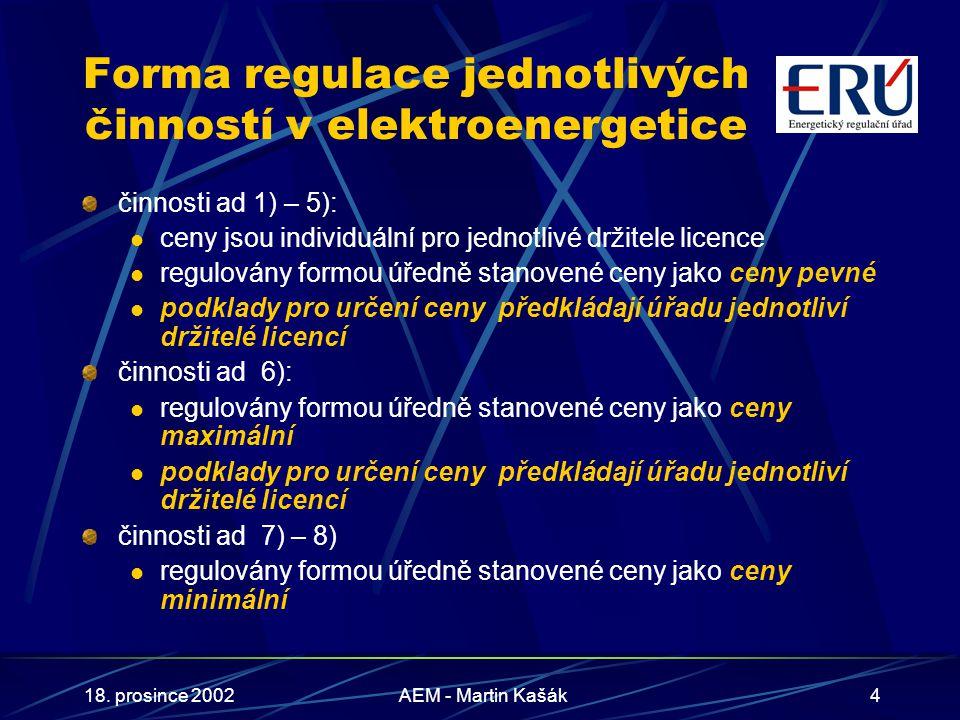 18. prosince 2002AEM - Martin Kašák4 Forma regulace jednotlivých činností v elektroenergetice činnosti ad 1) – 5): ceny jsou individuální pro jednotli