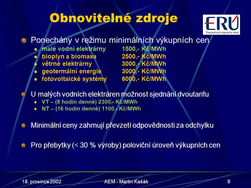 18. prosince 2002AEM - Martin Kašák9 Obnovitelné zdroje Ponechány v režimu minimálních výkupních cen malé vodní elektrárny 1500,- Kč/MWh bioplyn a bio