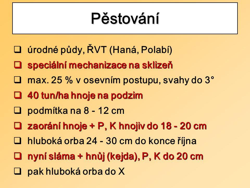  úrodné půdy, ŘVT (Haná, Polabí)  speciální mechanizace na sklizeň  max.