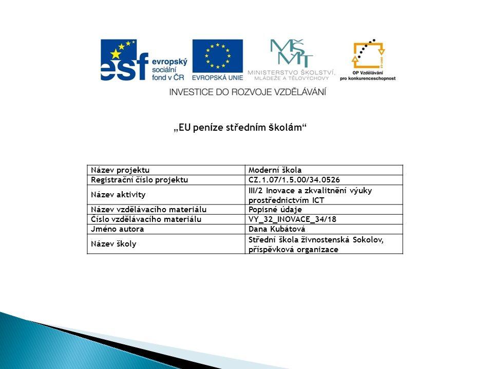 Název projektuModerní škola Registrační číslo projektuCZ.1.07/1.5.00/34.0526 Název aktivity III/2 Inovace a zkvalitnění výuky prostřednictvím ICT Náze