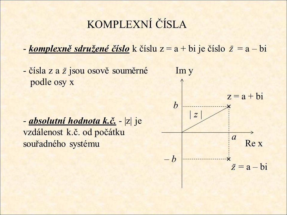 KOMPLEXNÍ ČÍSLA - komplexně sdružené číslo k číslu z = a + bi je číslo = a – bi Re x Im y z = a + bi a b = a – bi – b - čísla z a jsou osově souměrné
