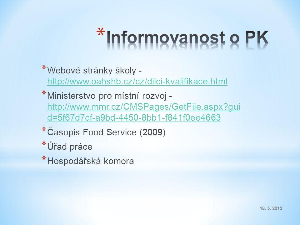 * Webové stránky školy - http://www.oahshb.cz/cz/dilci-kvalifikace.html http://www.oahshb.cz/cz/dilci-kvalifikace.html * Ministerstvo pro místní rozvoj - http://www.mmr.cz/CMSPages/GetFile.aspx gui d=5f67d7cf-a9bd-4450-8bb1-f841f0ee4663 http://www.mmr.cz/CMSPages/GetFile.aspx gui d=5f67d7cf-a9bd-4450-8bb1-f841f0ee4663 * Časopis Food Service (2009) * Úřad práce * Hospodářská komora 18.