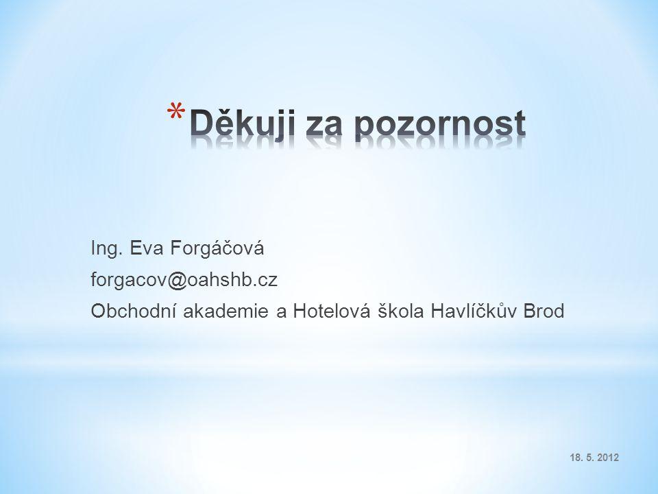Ing. Eva Forgáčová forgacov@oahshb.cz Obchodní akademie a Hotelová škola Havlíčkův Brod 18. 5. 2012