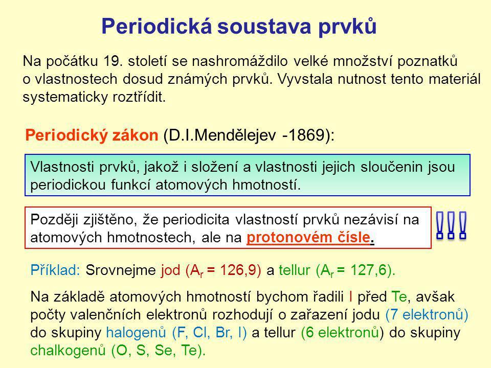 PERIODICKÁ TABULKA PRVKŮ Současná periodická tabulka obsahuje 118 prvků uspořádaných do 7period a 18 skupin.