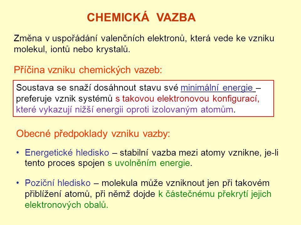 E D - Disociační energie vazby (vazebná energie) [eV]: Energie, kterou by bylo nutno dodat, aby se vazba rozštěpila a atomy se od sebe vzdálily nekonečně daleko.
