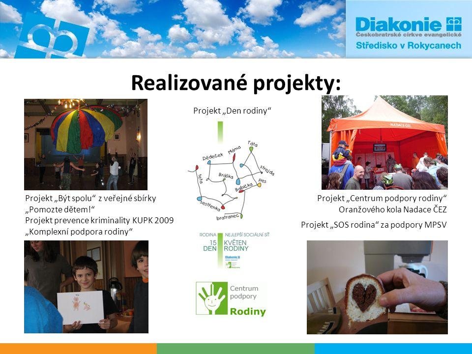 """Realizované projekty: Projekt prevence kriminality KÚPK 2009 """"Komplexní podpora rodiny"""" Projekt """"Být spolu"""" z veřejné sbírky """"Pomozte dětem!"""" Projekt"""