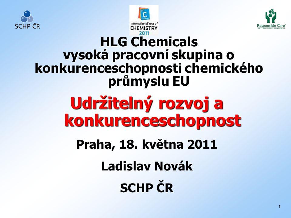 1 HLG Chemicals vysoká pracovní skupina o konkurenceschopnosti chemického průmyslu EU Udržitelný rozvoj a konkurenceschopnost Praha, 18.