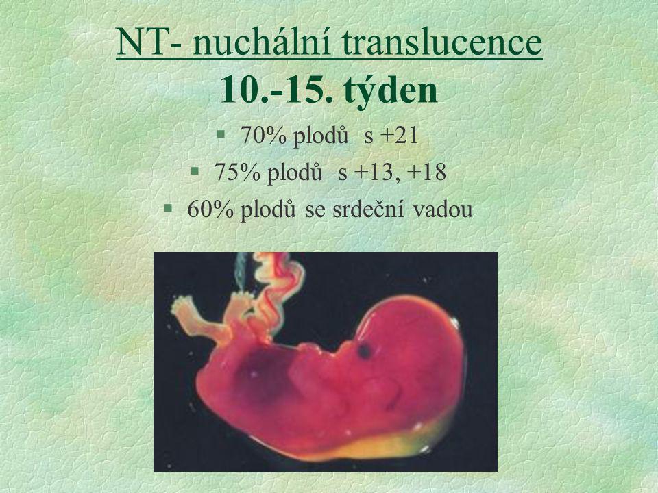NT- nuchální translucence 10.-15. týden §70% plodů s +21 §75% plodů s +13, +18 §60% plodů se srdeční vadou